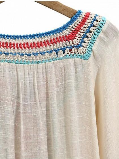 Cream Crochet Panel Tassel Tie Fill Hem Dress
