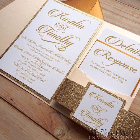 Glitter wedding invitation rose gold glitter von ATGInvitations