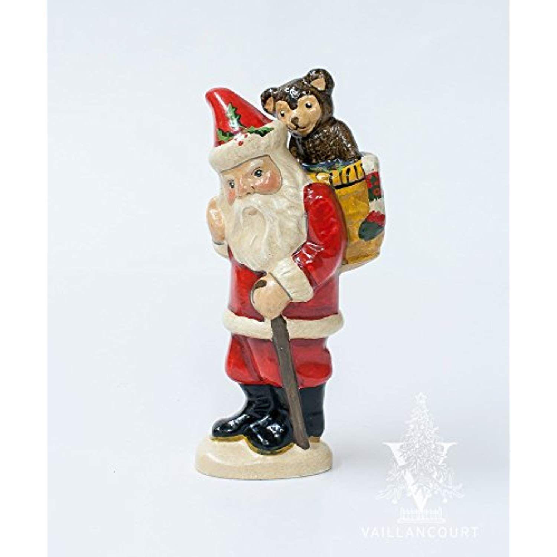 Vaillancourt Folk Art Teddy Bear Basket Santa Want To