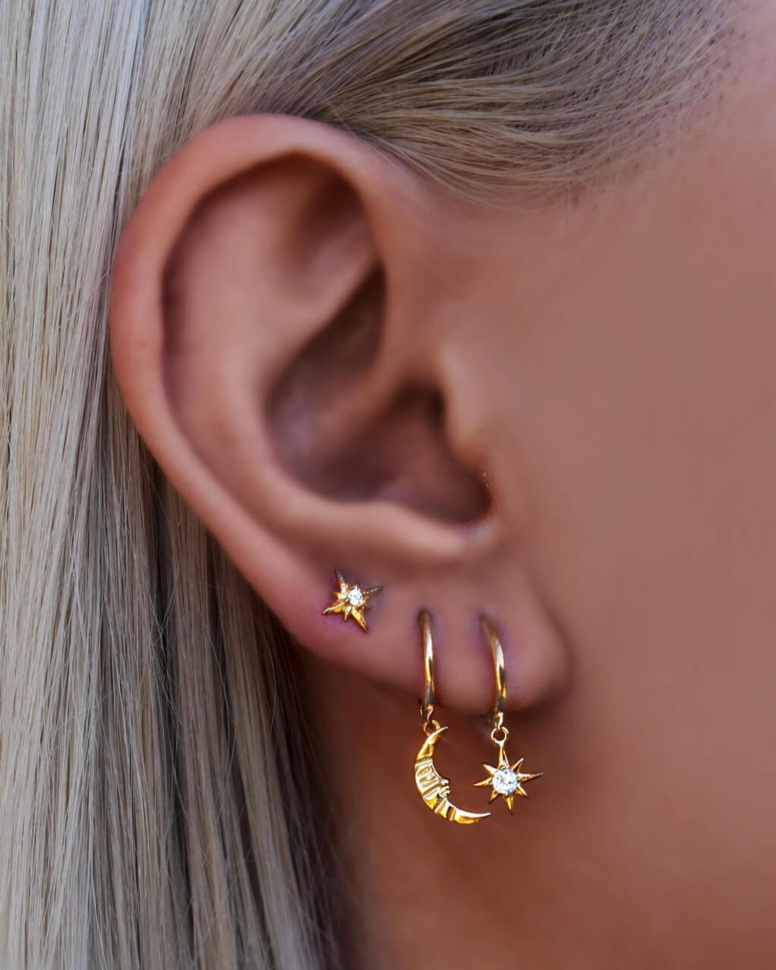 Photo of Moon ear hoops, moon and star earrings, silver moon earrings, huggie hoops, gold moon ear hoops, heavenly earrings, dainty earrings, huggie