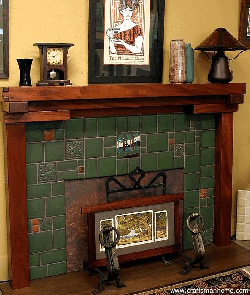 Gorgeous fireplace and accessories arts crafts for Arts and crafts tile fireplace