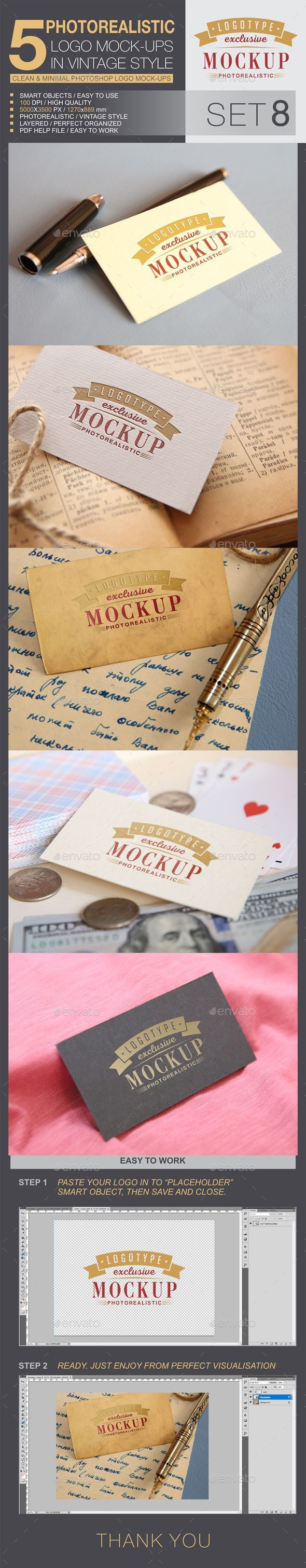 5 Logo Mock-Ups In Vintage Style - Set 8. Professional fully customizable logo m... -