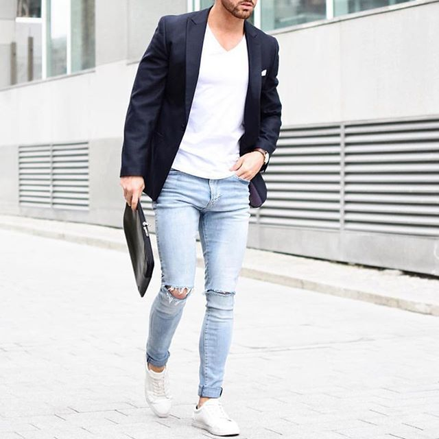 Casual outfit by @rowanrow - black blazer, ripped jeans and #sneakers 👊🏼✨ [ www.RoyalFashionist.com ]