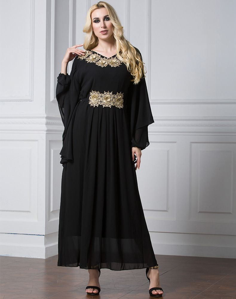 c3bd5360811d New Design Islam Women Bat Sleeve Muslim Long Dress In Malaysia Chiffon  Simple Plain Plus Size Green Black Muslim Long Dress