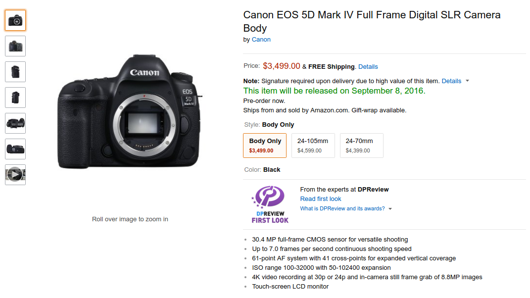 Canon EOS 5D Mark IV Full Frame DSLR Price, Specs and Features ...