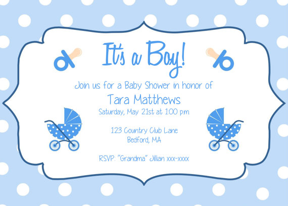 Boy Baby Shower Party Invitation Template -  - invitation templates for microsoft word