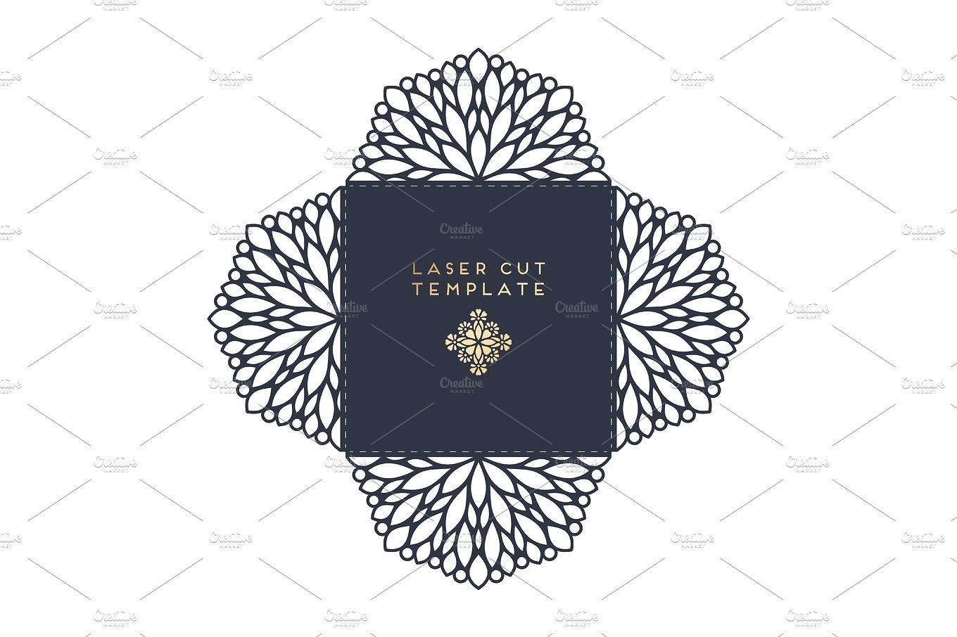 Vector wedding card laser cut template with
