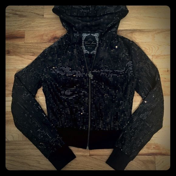 Black micro sequined zip hoodie Dark disco ball zip up, silk lined hoodie. Completely covered in tiny black sequins that are securely individually stitched on. Catches light beautifully without being overbearing. Interior is silk lined. Lightweight and in perfect condition. Guess Sweaters