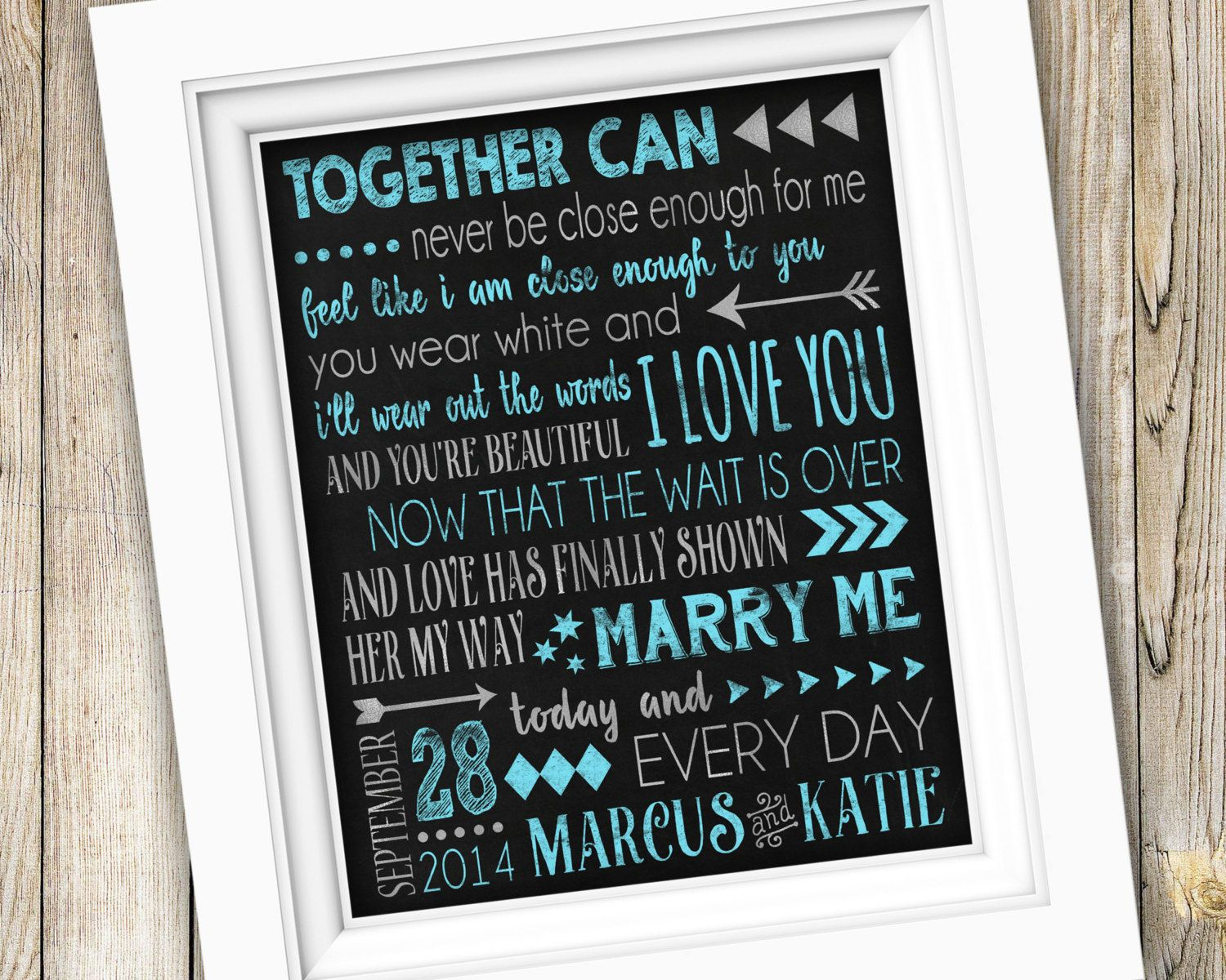 Wedding Song Lyrics Printable Anniversary Gift Or Marry Me By Train