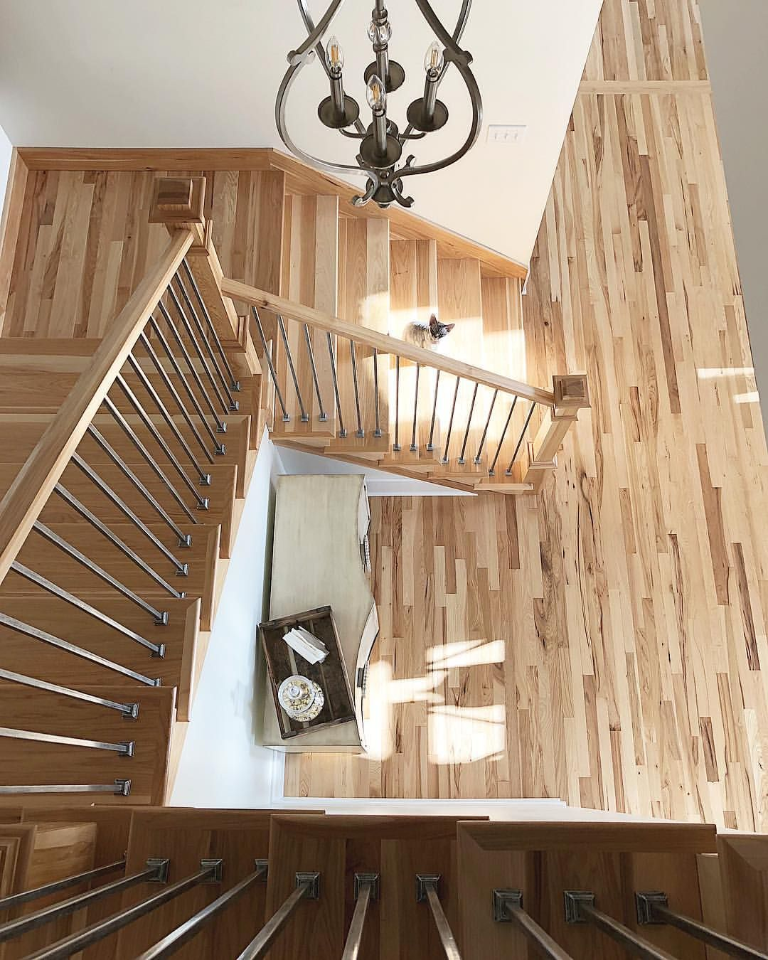 Best Natural Hickory Wood Staircase Handrail And Flooring Was Our Choice For This Home Wood 400 x 300