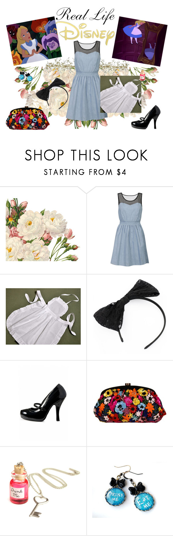 """Alice"" by akgsteeler ❤ liked on Polyvore featuring Influence, Disney, Pinup Couture and Santi"