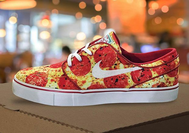 The food-themed Nike SB launches continue as we get a first look at a Nike  SB Janoski release with a delicious pepperoni pizza print all around the  upper.