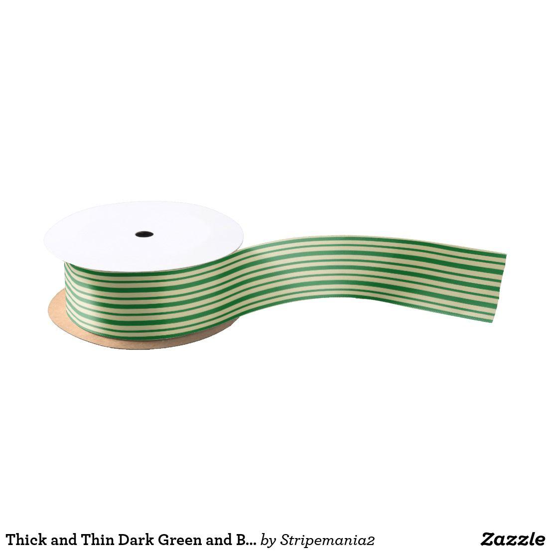Thick And Thin Dark Green Beige Stripes Satin Ribbon