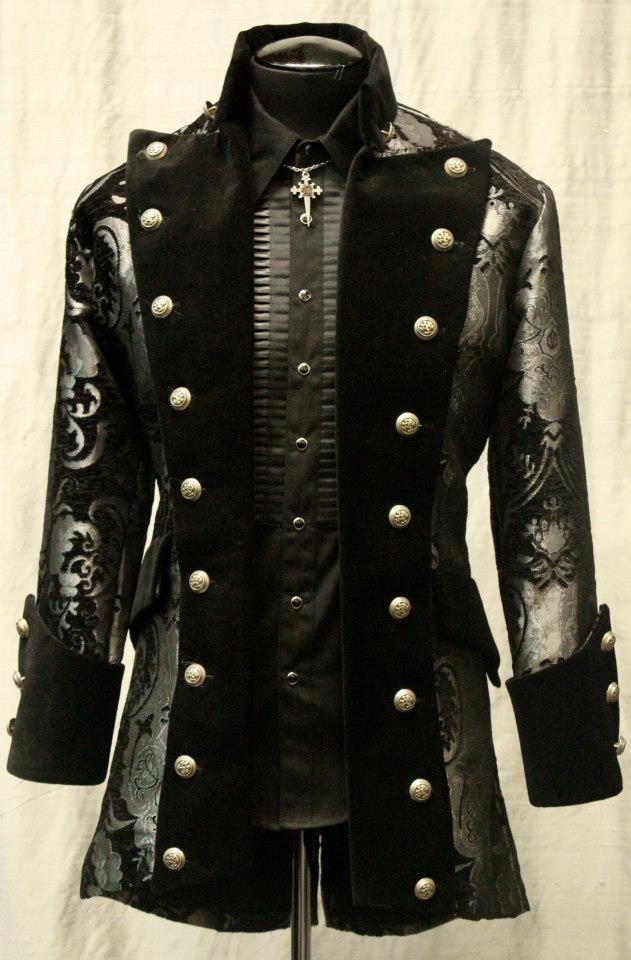 versailles coat black and silver tapestry mens