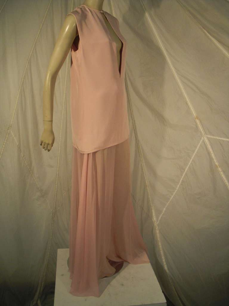 Galanos 70s Pink Tunic Ensemble with Chiffon Elephant Leg Pant | From a collection of rare vintage suits, outfits and ensembles at https://www.1stdibs.com/fashion/clothing/suits-outfits-ensembles/