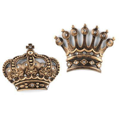 Elegant His/Her Crown Gold Jeweled Wall Plaque, Set Of 2
