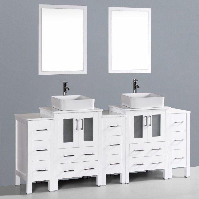 Bosconi 84 in. Double Bathroom Vanity Set - AB224