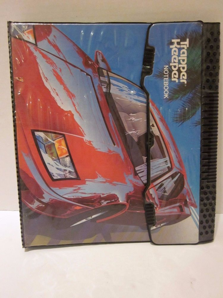 Vintage Trapper Keeper Red Sports Car 1990's Mead 3 Ring