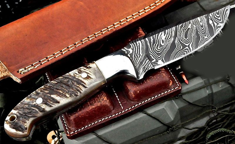 Custom Handmade Twist Damascus Sheep Horn Hunter Skinner Bushcraft Knife by ComeandTakeThem on Etsy