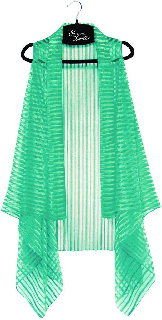 turquoise sheer striped vest Case of 10