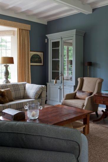interieur muur blauw grijs