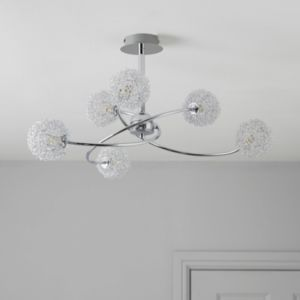 Pallas Chrome Effect 6 Lamp Pendant Ceiling Light ...