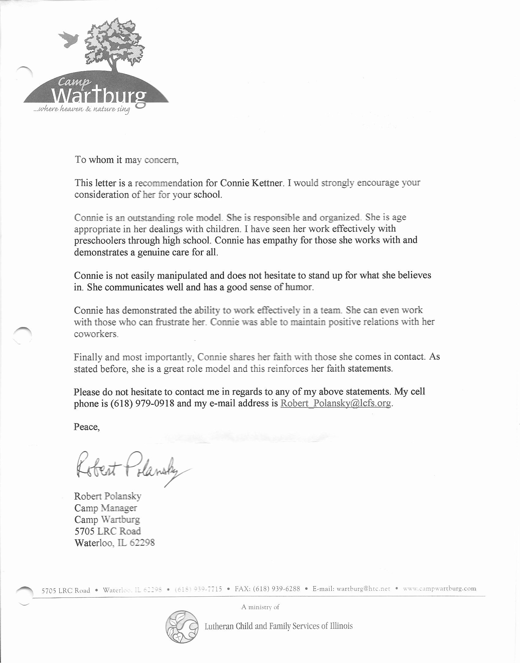 Counselor Letter Sample Luxury References