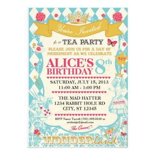 Alice In Wonderland Tea Party Invitation  Tea Party Invitations