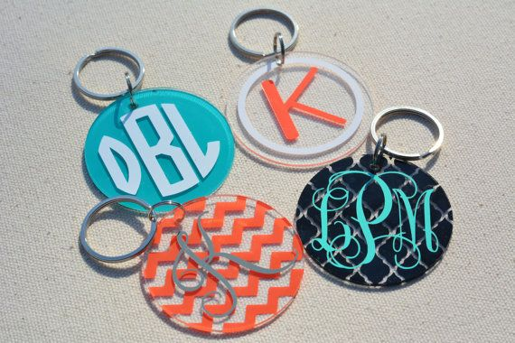 ~*~ Custom KEYCHAIN With Your choice of Vinyl Decal INITIALS Monogram Round Logo