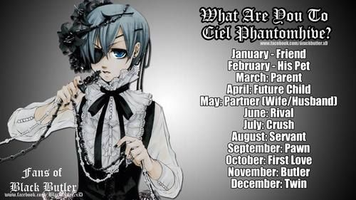 what are you to Ciel? | via Facebook on We Heart It #birthdaymonth what are you to Ciel? | via We Heart It - i'm his twin, how bout you?