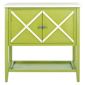"Green poplar wood sideboard with a crisscross motif.      Product: SideboardConstruction Material: PoplarColor: Green and whiteFeatures:Two doors Crisscross designLower display shelfDimensions: 30.1"" H x 29.1"" W x 14.1"" D"