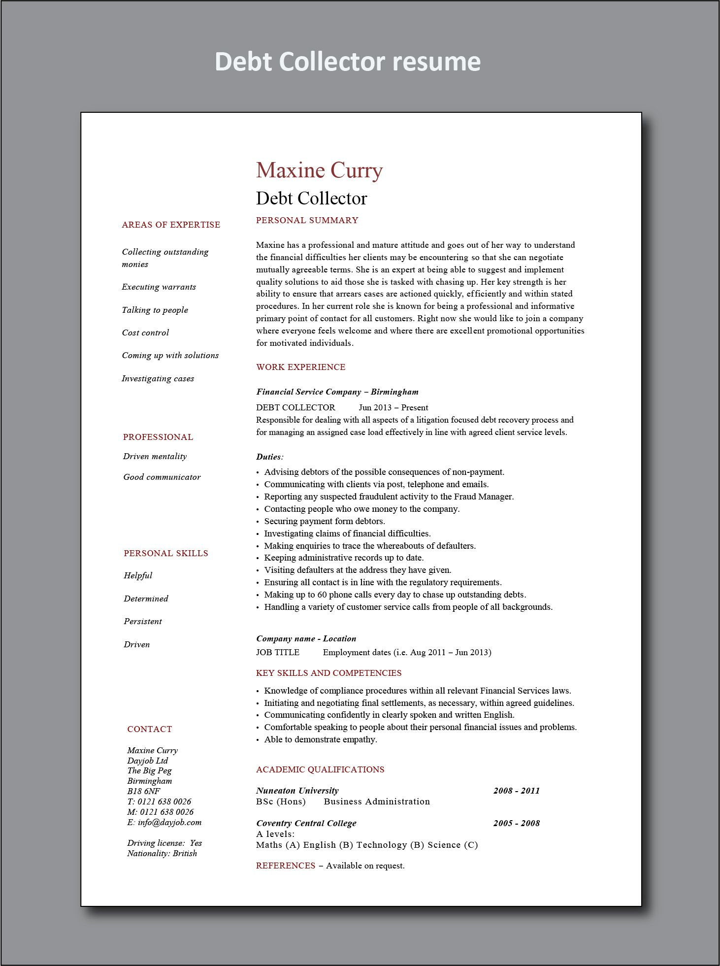 Debt Collector Resume Example Project Manager Resume Office Manager Resume Manager Resume