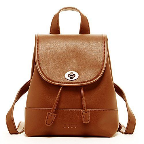 SUSU Brown Small Leather Backpack For Women Fashion Drawstring ...