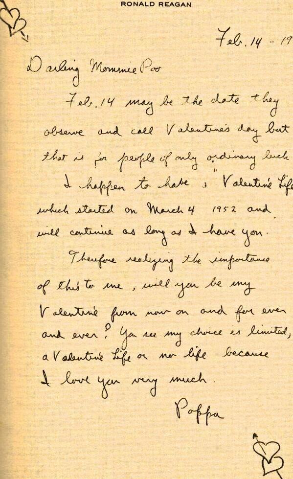 ronald reagans valentines letter