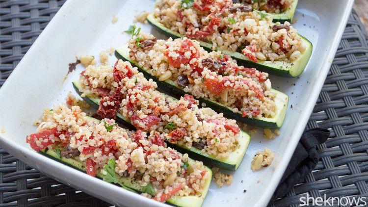 Cheesy stuffed zucchini boats full of quinoa salad make an easy gluten-free dinner