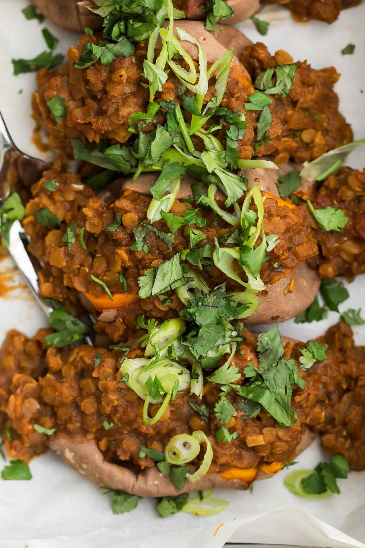 Chili Lentils Over Sweet Potatoes