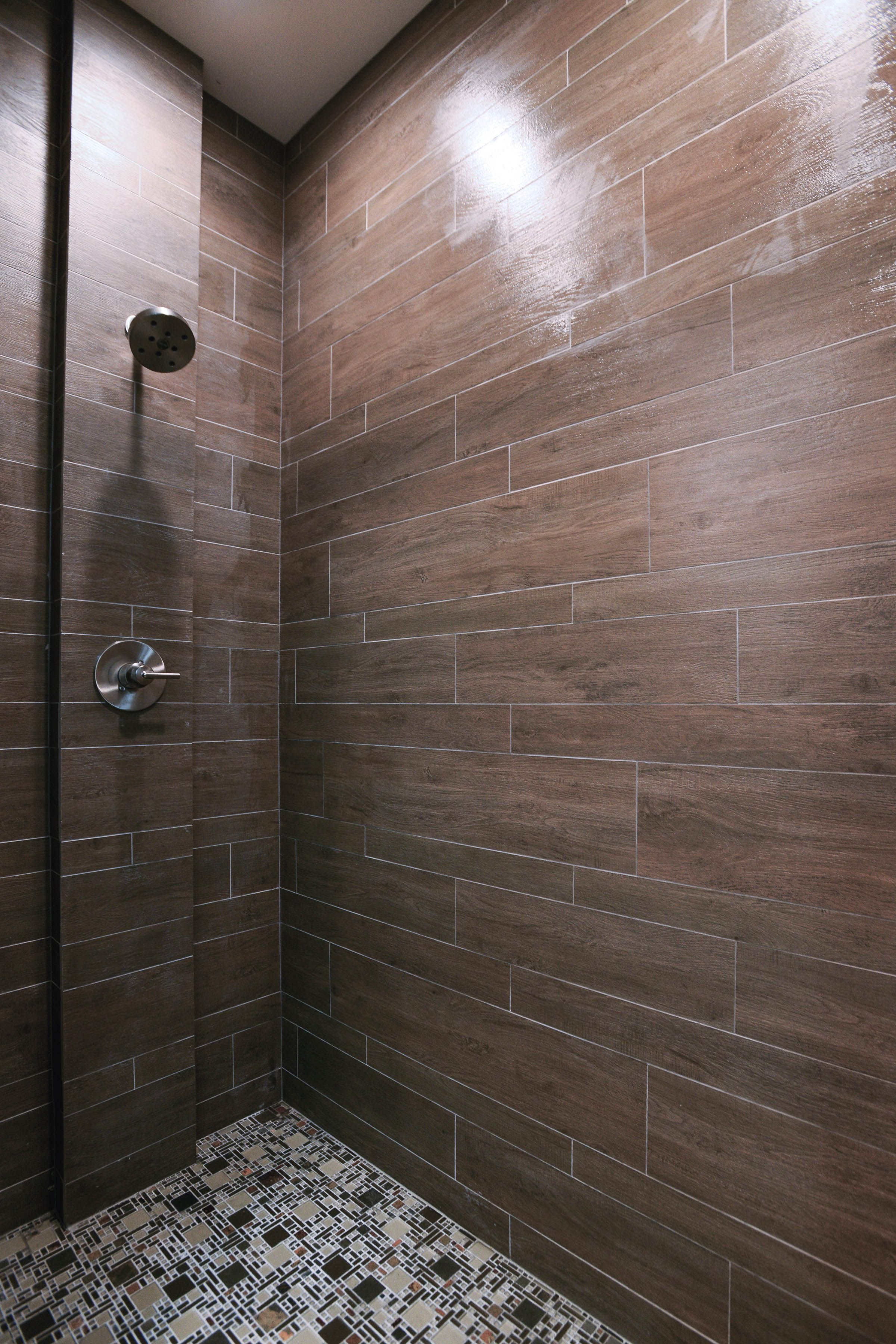 Briarwood mocha faux wood shower tile by the tile shop bath briarwood mocha faux wood shower tile by the tile shop dailygadgetfo Images
