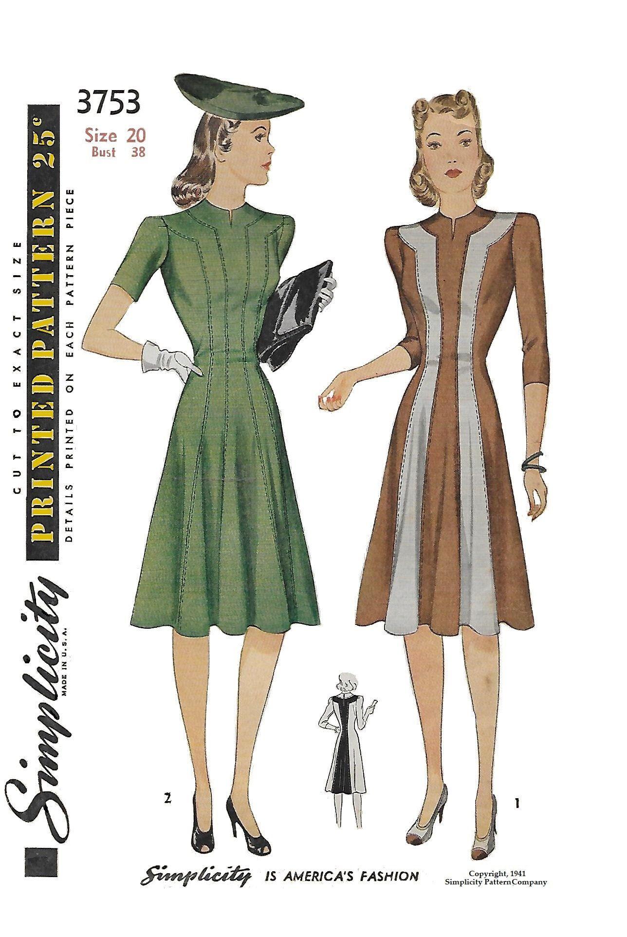 Vintage 1940s Color Block Swag Dress: Simplicity 3753 Women's 1940s Colorblock Princes Dress