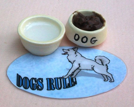 Dollhouse Miniature Pet Accessories Dogs Rule Feeding Mat And