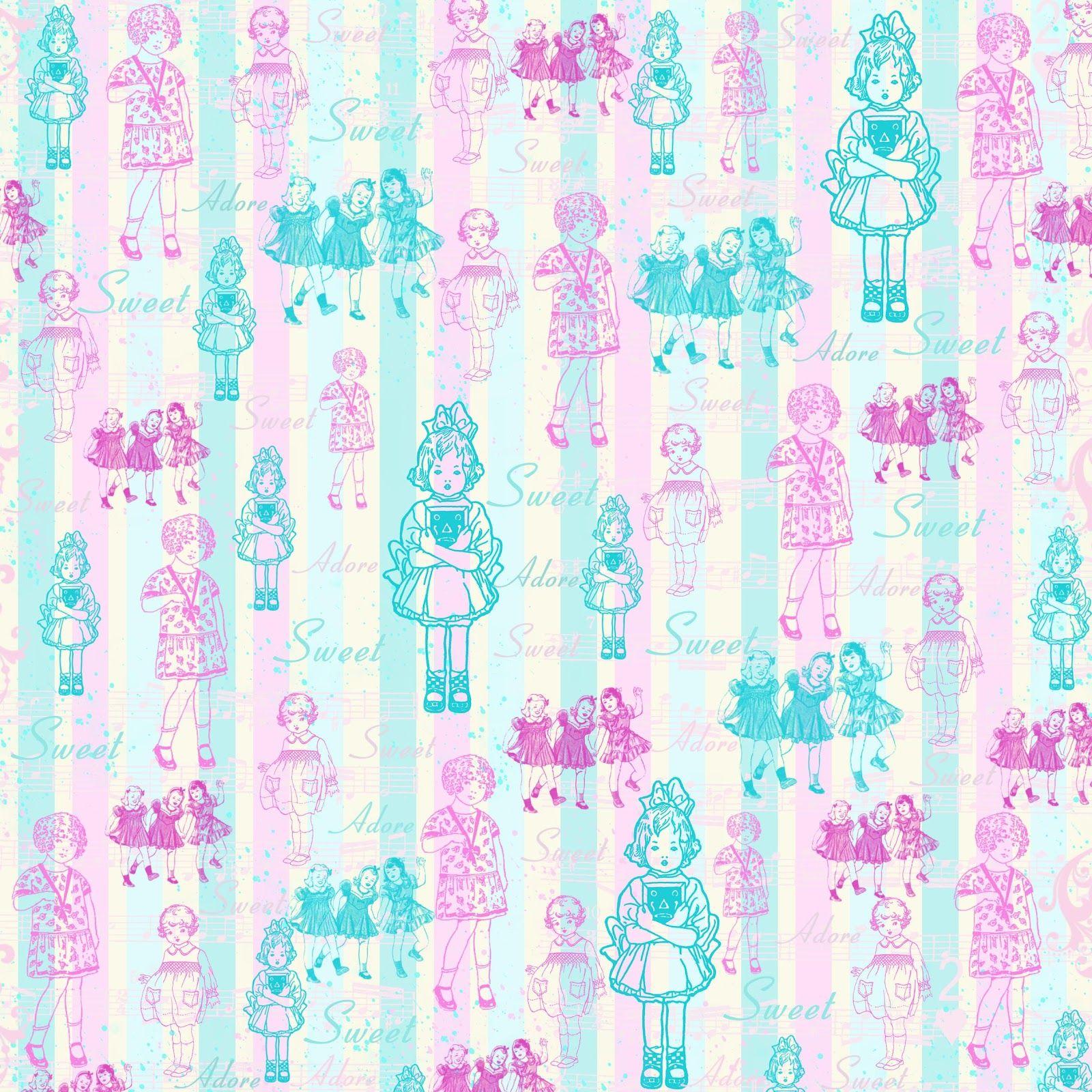 Scrapbook paper as wallpaper - Free Digital Scrapbook Paper Pink Blue