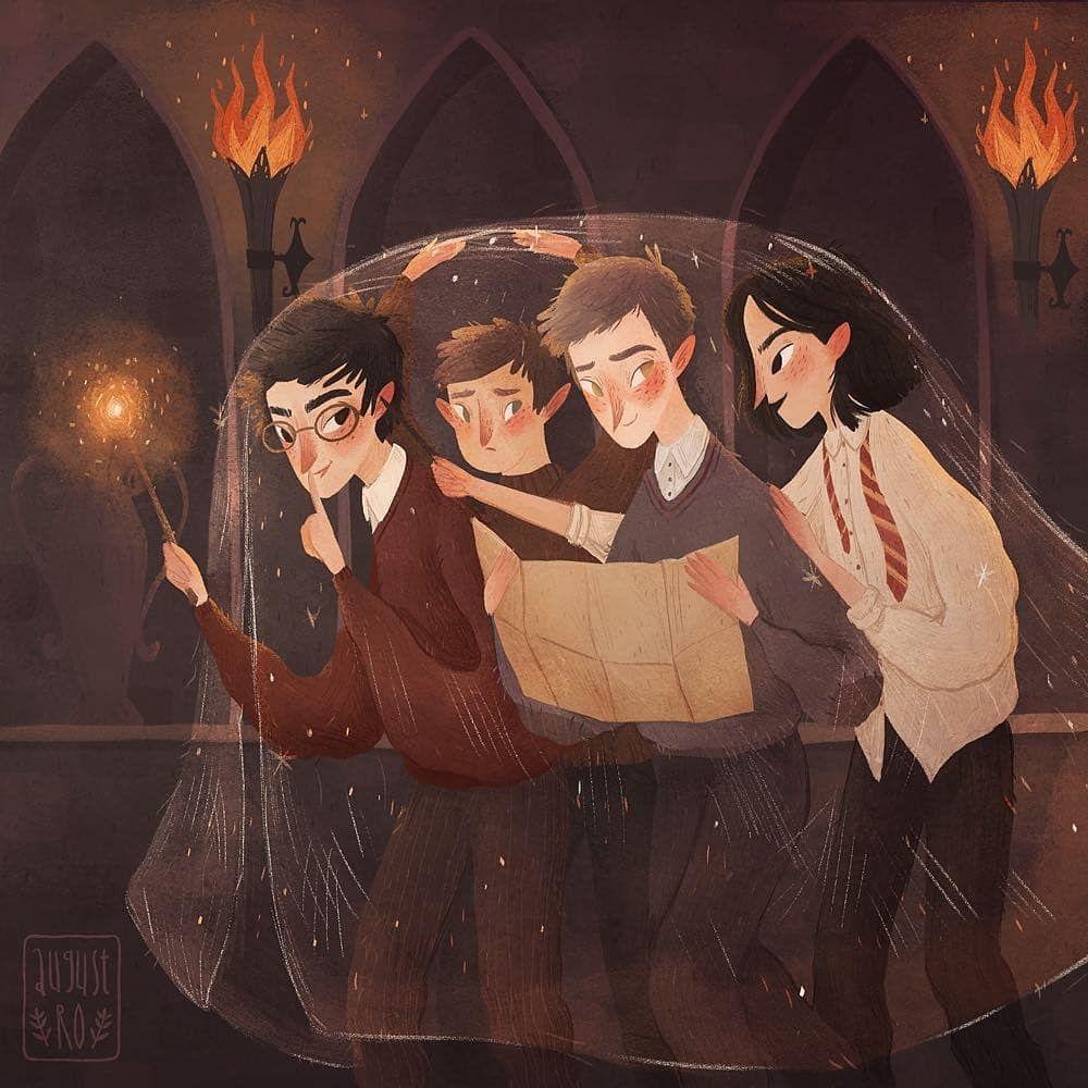 Catalak James Potter Kilkuyruk Petter Pettigrew Aylak Remus Lupin Patiayak Sirius Black Harry Potter Illustrations Harry Potter Art Harry Potter Artwork