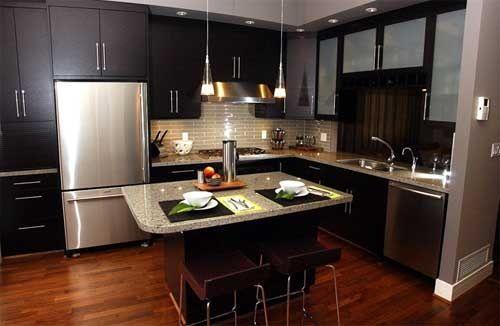 Cocinas Modernas Pequeñas sin Gabinete Decoración de Interiores