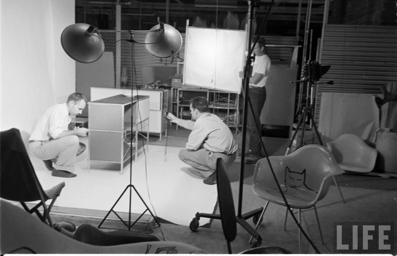 Charles Eames Working On An #Eames Storage Unit With A Staff Member, 901  Washington Boulevard, Venice, CA, The Long Time Offices Of Charles And Ray  Eames