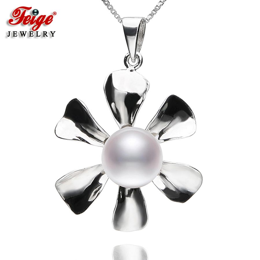 Feige Flower-shaped Real 925 Sterling Silver Pendant Necklaces 8-9mm White Freshwater Cultured Pearls for Women's Fine Jewelry