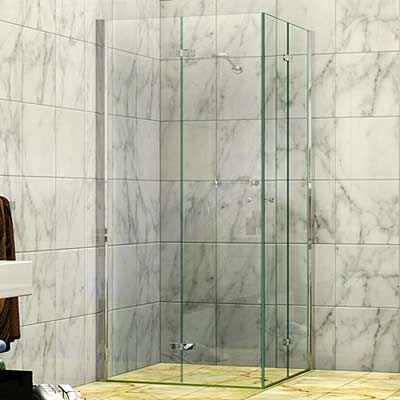 845 865 X 1950h Four Panel Concertina Bi Fold Corner Entry Shower Screen Young Shower Screens Shower Screen Paneling Shower Room