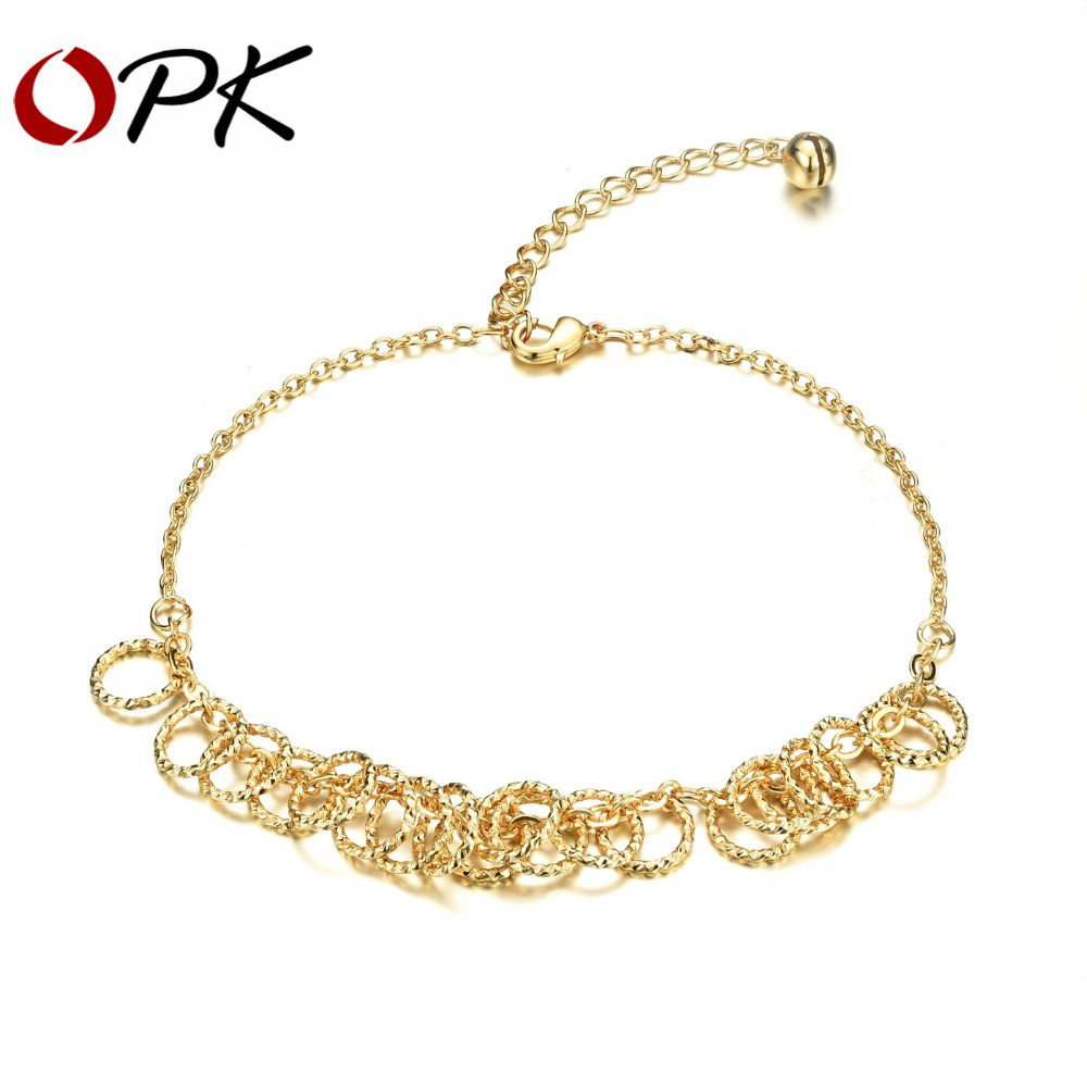 Luxury gold plated woman anklets classical round pendant ankle