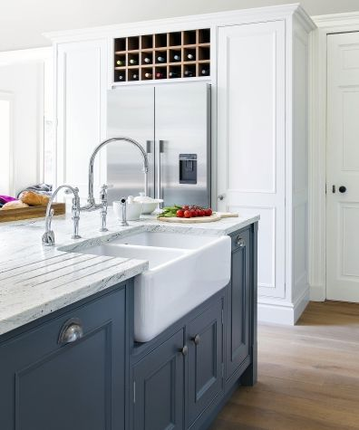 Best Blue Lower Cabinets White Pantry And Upper Cabinets 400 x 300