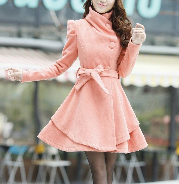Khaki / Orange /Green/ Pink wool women coat women dress coat ...