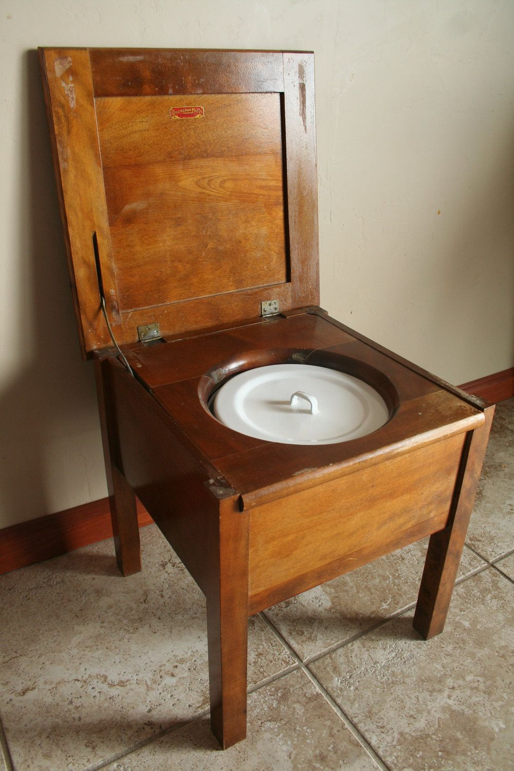 Antique Commode Chair - Wood with White and Blue Porcelain Chamber Pot with  Handle - Dillinghman Manufacturing Company - T. Elkins: Chamber Commode 1897 I AM BLACK.. Pinterest