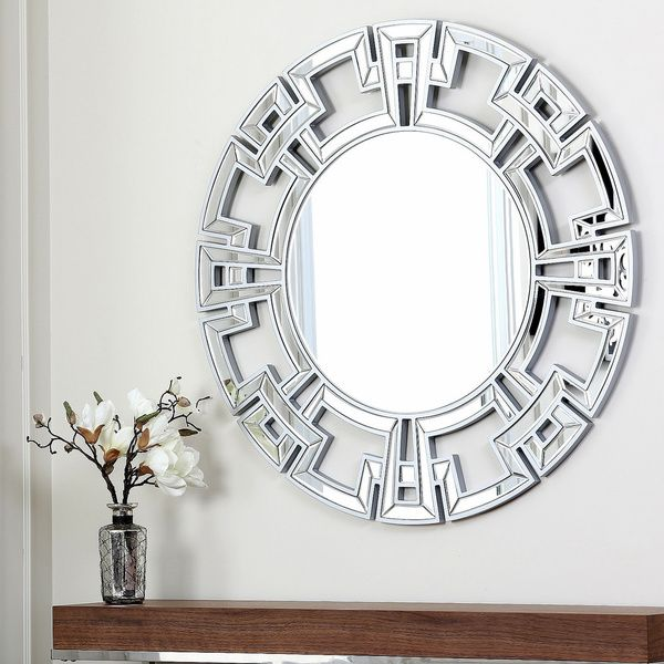 Abbyson Living Pierre Silver Round Wall Mirror Ping Great Deals On Mirrors
